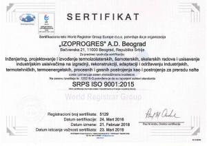 Sertifikat IZOPROGRES ISO 9001- Srp.