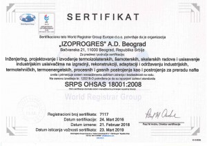 Sertifikat IZOPROGRES OHSAS 18001- Srp